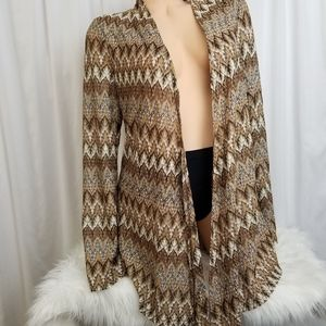 INC Open Front Long Sleeve Brown Gold Jacket L